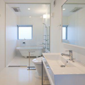 互い違いの内壁/homeHR 洗面室から浴室を見る