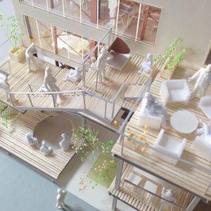 Fujiyoshida-Balcony 模型写真 バルコニーを上から見る