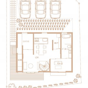 互い違いの内壁/homeHR 1階平面図