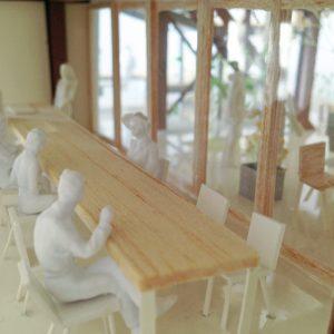 Fujiyoshida-Balcony 模型写真 1階カフェスペース