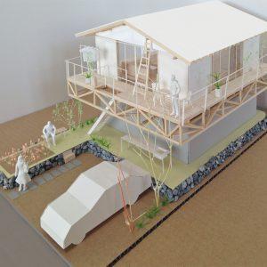 津島の四層二階建て住宅 模型写真 鳥瞰