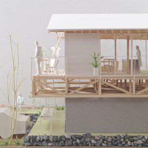 津島の四層二階建て住宅 模型写真 横から