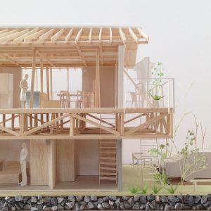 津島の四層二階建て住宅 模型写真 断面