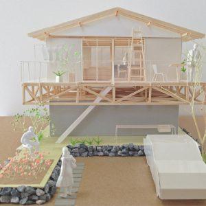 津島の四層二階建て住宅 模型写真 正面外観