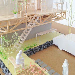津島の四層二階建て住宅 模型写真 アプローチ