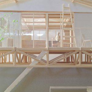 津島の四層二階建て住宅 模型写真 2階床のトラス