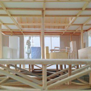 津島の四層二階建て住宅 模型写真 2階第3層から第4層が見える