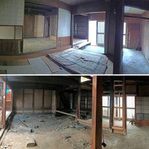 亀崎の蕎麦屋 着工直前と解体直後の写真