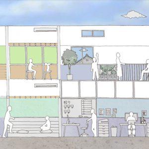 六層二階建ての窓/リナスト障がい者福祉施設 断面イメージ