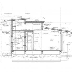 三方向の屋根/annexTK 矩計図