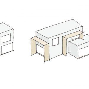 直方体と門型の庇 基幹となる直方体に門型の庇を付け加え、それらを組み合わせて複雑な全体と多様な居場所を形作る